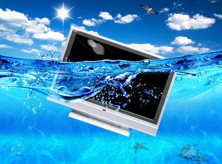 TV in sea photo