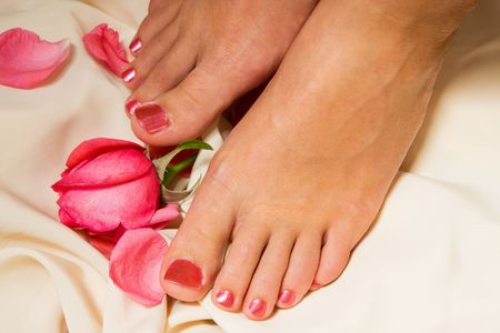 Pedicure with rose Stock Photo - 5629289