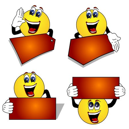 illustration for advertising: Emoticon signs on white background