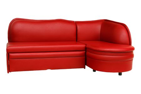 Isolated red sofa on white background photo