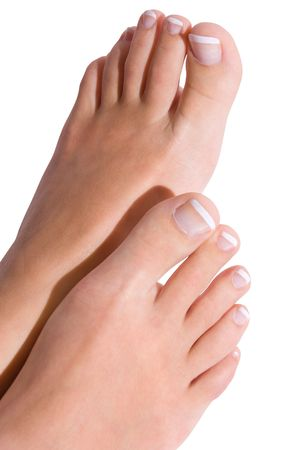 Woman pedicure isolated on white photo