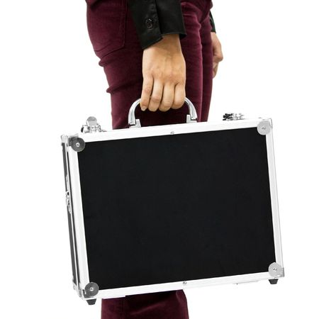 A young woman is carrying a suitcase photo
