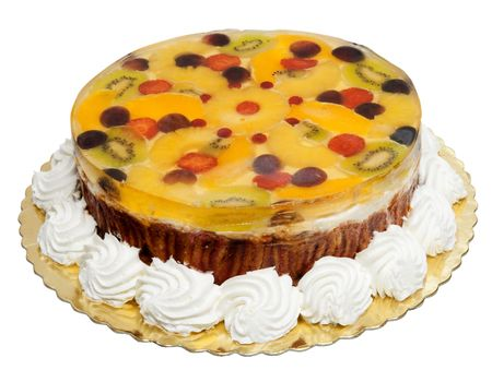 Cake with cream, oranges and jelly