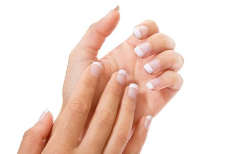 Woman�s hand with French manicure isolated 版權商用圖片