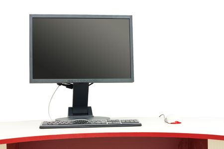 Computer workplace with keyboard, computer mouse and LCD monitor. Stock Photo - 5720258