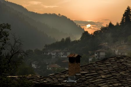 scenery set: Sunset at the mountain. Village tourism.