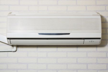 Air Conditioning - Powered on. Isolated in white background photo