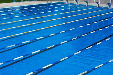 swimming pool float: Part of corridors of public swimming pool. Sport swim pool for competition.