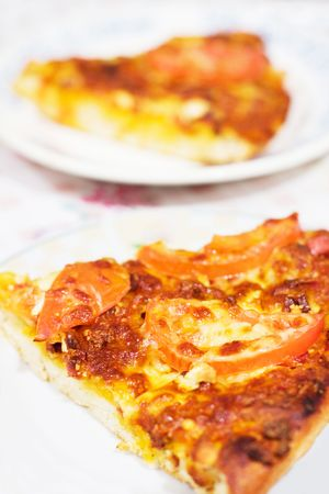 A slice of pizza with tomato and cheese on plate