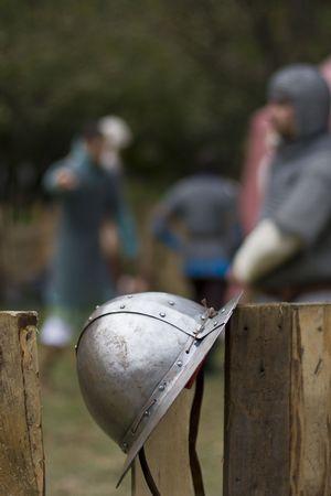 Old knight helmet  photo