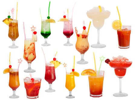 Group of cocktails isolated on white background. Picture proper for design of cocktail menu. Stock Photo