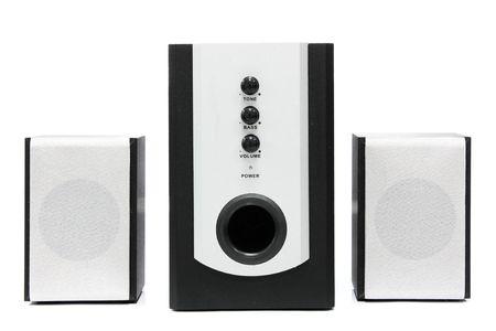 Computer multimedia speaker set isolated on white photo
