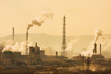 toxic emissions: Urban pollution Stock Photo