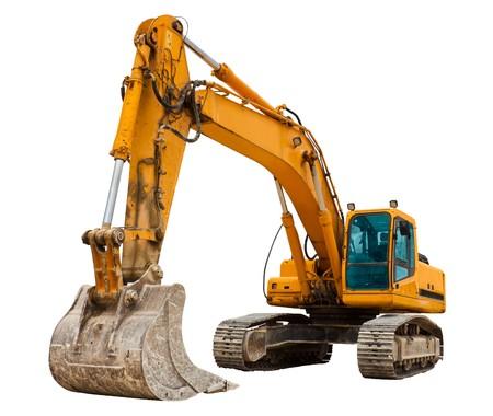 Yellow Excavator isolated on white Stock Photo