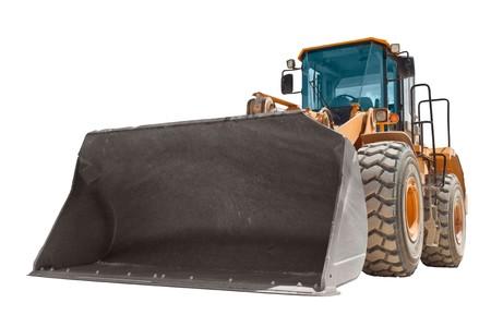 Yellow bulldozer isolated on white photo