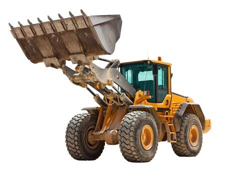 Yellow bulldozer isolated on white Stock Photo