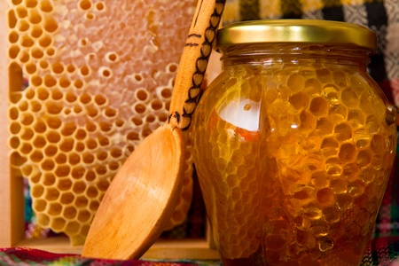 beekeeping: Jars of honey and honeycomb Stock Photo