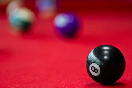 bola ocho: Ocho bolas de billar. Imagen disparar con enfoque corto para la visión del arte. Foto de archivo