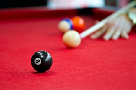 8 ball billiards: Eight balls billiards. Picture shoot with short focus for art vision.