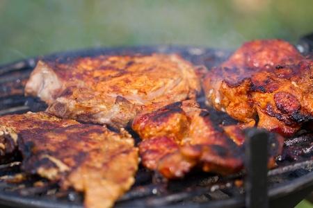 bbq ribs: Fresh meat in white plate  Picnic picture proper for restaurant menu design