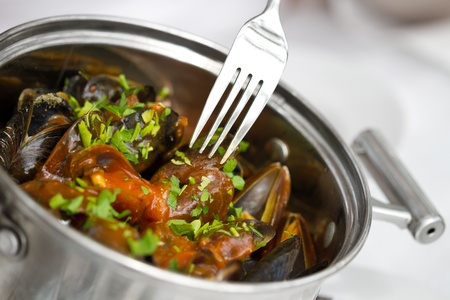 Seafood dish with mussels and parsley in nature style with clams Stock Photo - 13752035