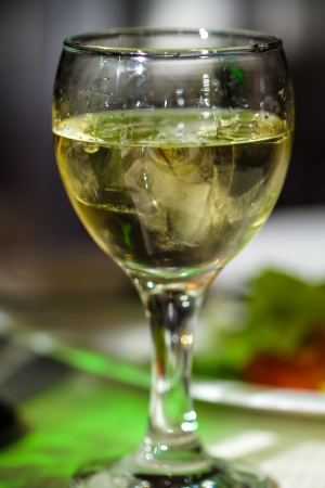 vermouth: Glass of white wine or vermouth and ice  Picture proper for menu design