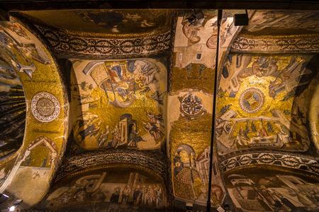 chora: Jesus Mosaic in Istanbul Chora Church  Europian area in Turkey Editorial