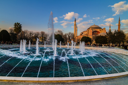 aya: Hagia Sophia  Turkish  Aya Sofya  is a former Orthodox patriarchal church, later a mosque, and now a museum in Istanbul, Turkey  Fountains and blue pool are in the foreground