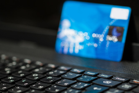 computer security: credit card on the keyboard