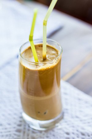 Ice coffee frappe with milk summer time