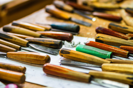 engraver: Carpenter working tools in working place. Handmade craft. Stock Photo