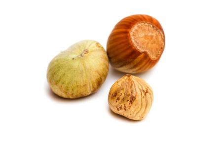 cobnut: Hazelnut and kernel isolated on white background