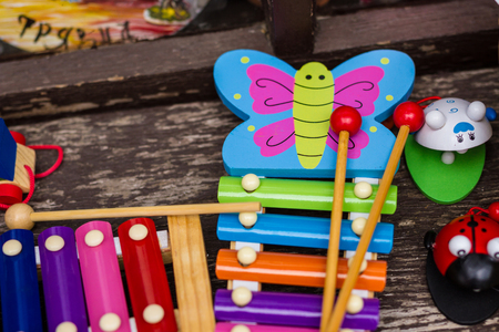 kids games musical instruments and colour kid toys at child store market stock photo - Colour Kid