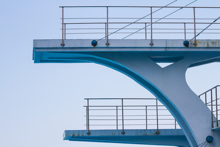 competitive sport: Diving platform from the side with a blue sky Stock Photo