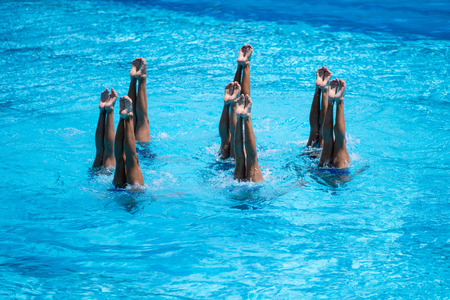 Women national team synchronized swimming performing