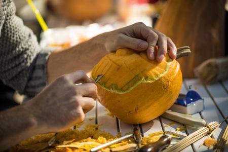 helloween: Helloween pumpkin carving for helloween night party. Last night of October. Stock Photo