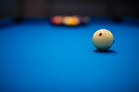 Eight balls billiards. Pool picture shoot with short focus for art vision. Stock Photo