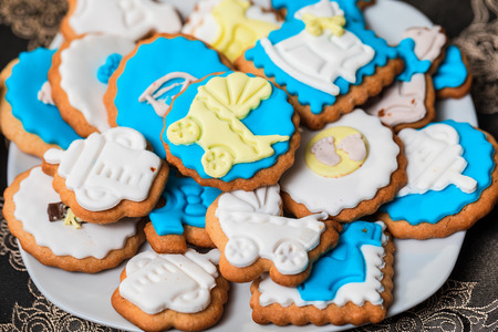 Cookies for child birthday or heloween. Mixed Christmas cookies. Stock Photo