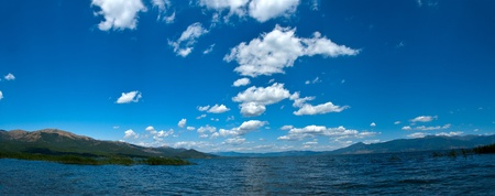 Panoramic view of the beautiful lake Prespa - Macedonia photo