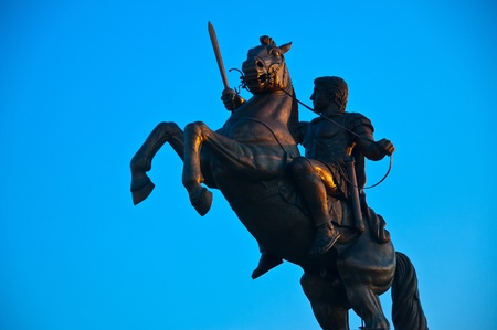 Monument of Alexander the Great, the Macedonian King located in Skopje-Macedonia Stock Photo