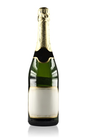Expensive Bottle of Champagne with blank label label isolated on a white background with clipping path