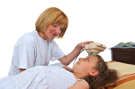 recieving: A young patient recieving a therapy Stock Photo