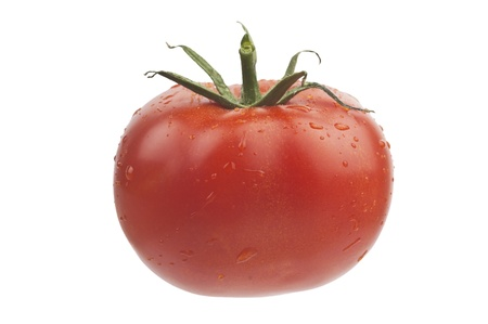 Tomato with drops isolated on white (with Cliiping path)