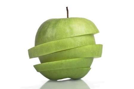 pedicel: Slaced Granny  Smith Apple with Pedicel and with cliping path