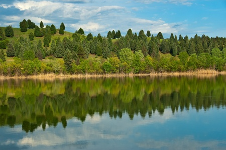 Colorfull Trees in spring reflected on the water surface Stock Photo