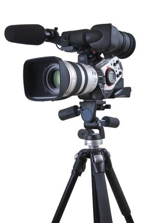 camara de cine: C�maras de v�deo profesionales en un tr�pode (con trazado de recorte excelente)