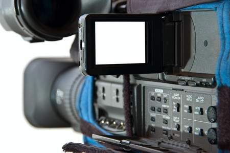 Video camera over white with screen open-white space for images or text Stock Photo