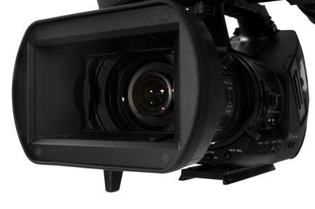 HD video camera with view closer look to lens on white background Stock Photo
