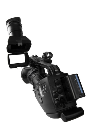 Video  camcorder isolated over white with screen open- White space for images or text photo