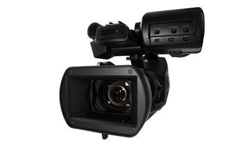 Modern Video Camera isolated on white background Standard-Bild